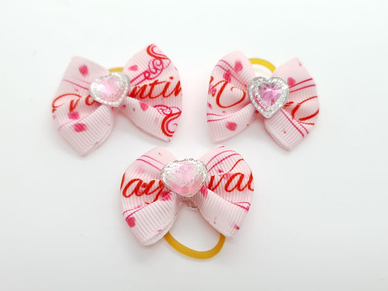 Love Patterned with Pink and White Heart Fabric Top Knot Elastic Bow