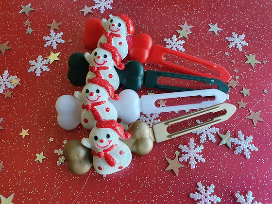 Red Snowman Christmas top knot barrette 4.5cm by Posh Puppy