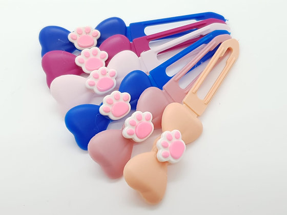 Pretty Pink Paw top Knot barrette clip for dogs