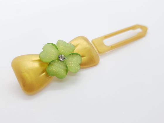 Limited Edition St Patricks Themed Clover on a Gold 4.5cm Bow Clip