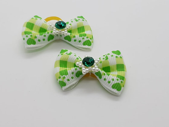 Green Chequed & Heart Patterned Fabric Top Elastic Bow