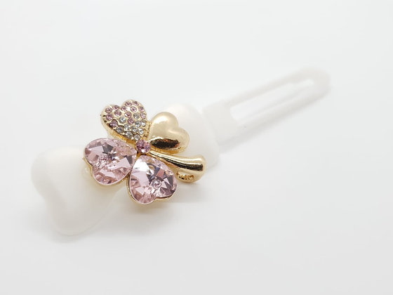 St Patricks Baby Pink Diamante Small Clover (Choose your own colour and Clip)