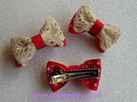 Red Lace Alligator Top Knot Clip