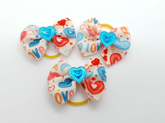 Heart Patterned with Solid Blue Heart Fabric Top Knot Elastic Bow