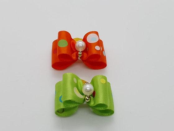 Pearl Pooka Dot Soft Top Knot Elastic Bow