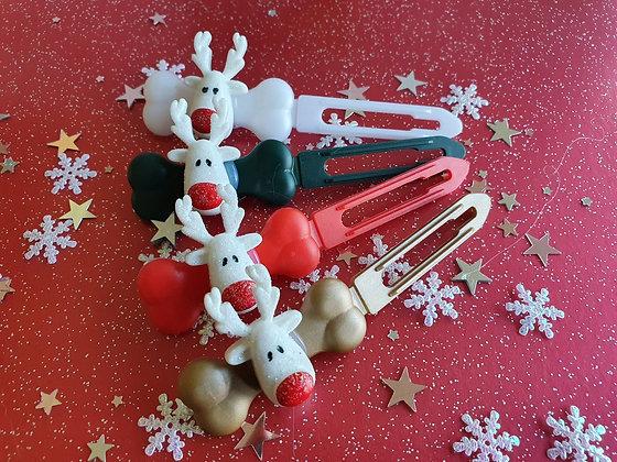 Rudolf Christmas top knot barrette 4.5cm by Posh Puppy