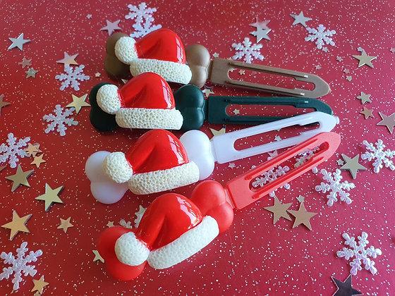 Santa Hat Christmas top knot barrette 4.5cm by Posh Puppy