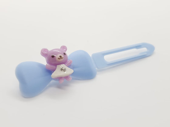 Limited Edition Pink Dressed Teddy Bear on a Baby Blue 4.5 Bow Clip