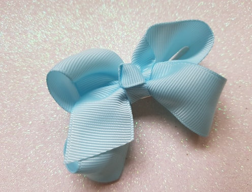 Baby Blue Large Bow Alligator clip