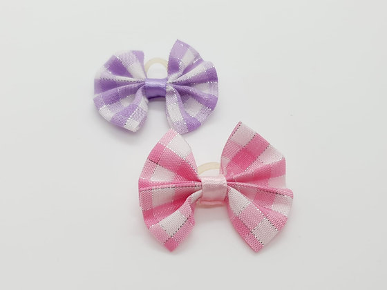 Chequed & Silver Soft Top Knot Elastic Bow