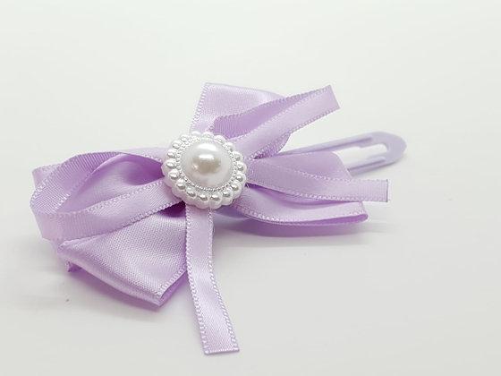 Pretty lavender Satin Bow & Pearl on a 4.5cm clip