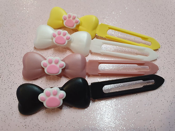 Pretty Pink Paw top Knot barrette 4.5cm clip for dogs