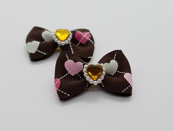 Brown Bow With Hearts Top Elastic