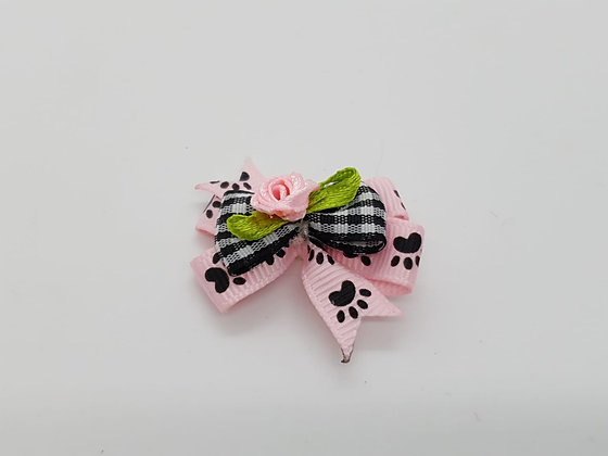 Soft Rose Paw Print Top Knot Elastic Bow
