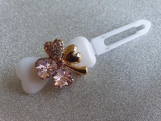 Pink Diamante St Patricks Clover Top Knot Clip 4.5cmGreen