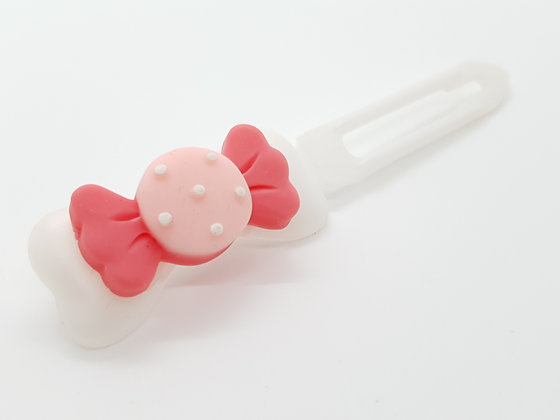 Limited Edition Sweets 'N' Treats Pink Candy on a Pearl 4.5cm Bow Clip