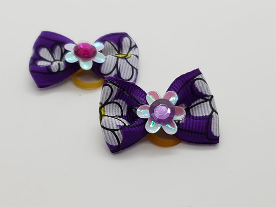 Sunflower Purple Patterned Fabric Top Elastic Bow