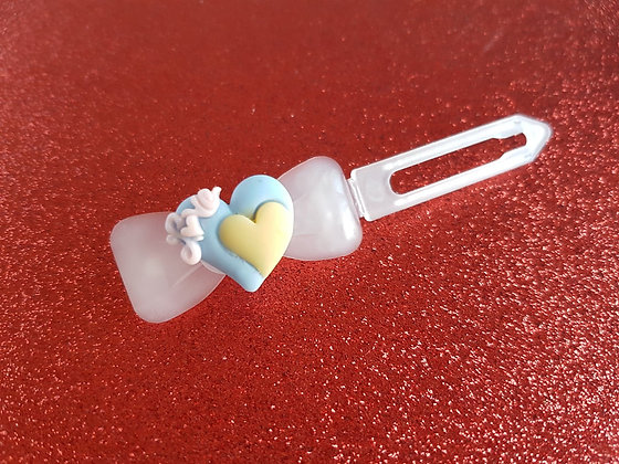 Posh Puppy Love Heart dog top knot barrette 4.5cm clip