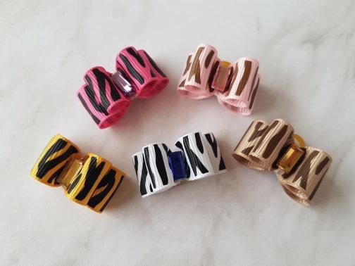Zebra Print Grosgrain Top Knot Elastic Bow