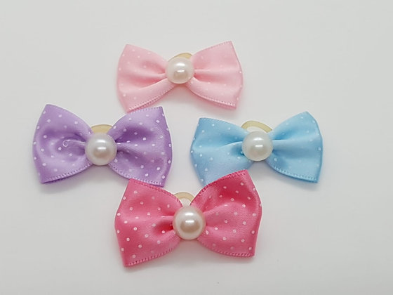 Spotted Bow with a Centre Pearl Soft Top Knot Elastic