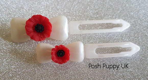 Red Poppy Remembrance dog top knot barrette clip