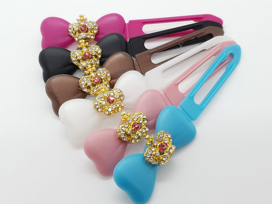 Gold Coloured Diamante Crown top Knot barrette clip for dogs