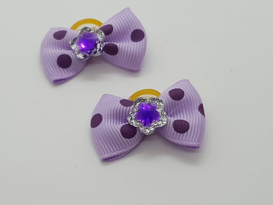 Lilac with Purple Spots Patterned Fabric Top Elastic Bow