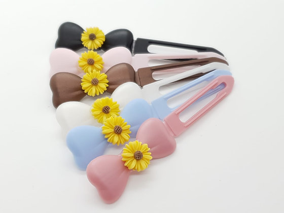 Yellow Daisy top Knot barrette clip for dogs