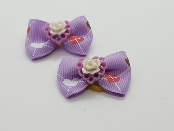 Lilac Heart with a Flower Centre Patterned Fabric Top Elastic Bow