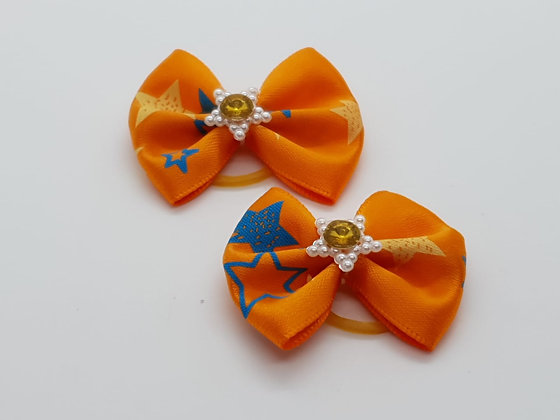 Orange Star Patterned Silk Top Elastic Bow