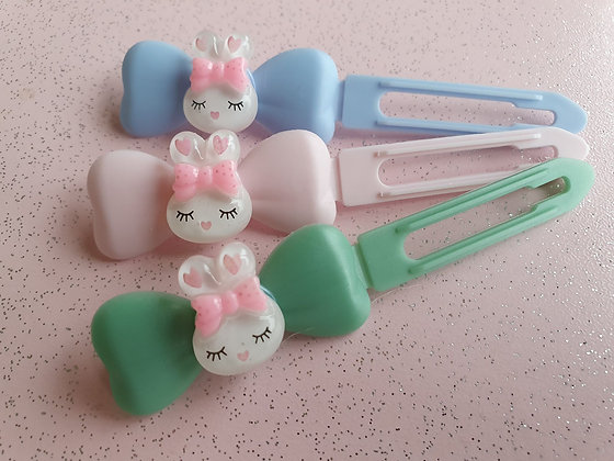 Pink & White Easter Bunny Top knot barrette 4.5cm clips by Posh Puppy UK