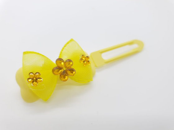 Yellow Net Bow on a 4.5cm clip