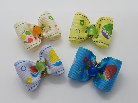 Easter Egg with Pearl Centre on a Patterned Coloured Top Elastic Bow