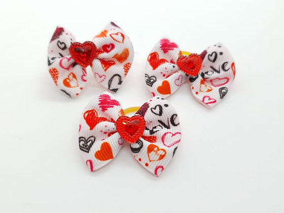 Heart Patterned with Solid Red Heart Fabric Top Knot Elastic Bow
