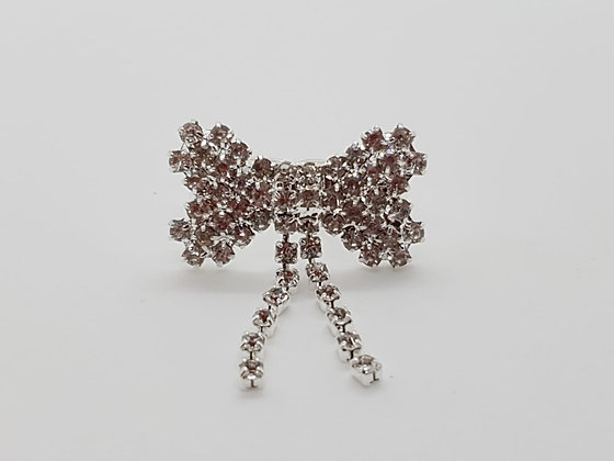 Diamante Bow Top Knot Barrette Clip
