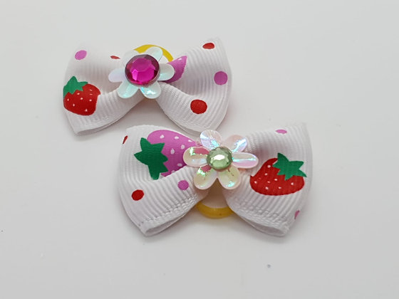 White Strawberry Patterned Fabric Top Elastic Bow