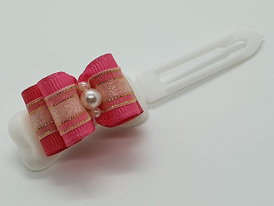 Pink & Cream bow on a 4.5cm clip