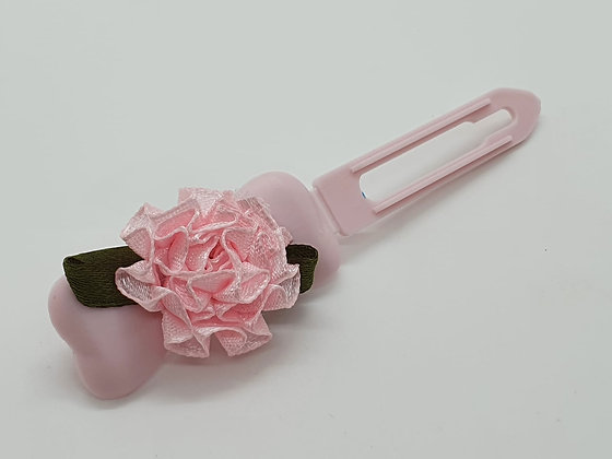 Baby Pink Satin bow on a 4.5cm clip