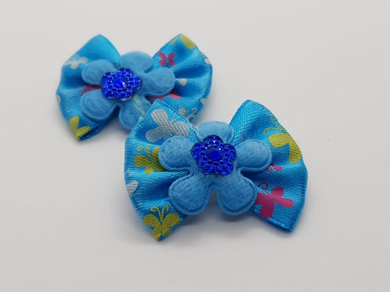 Blue Butterfly Patterned Fabric Top Elastic Bow