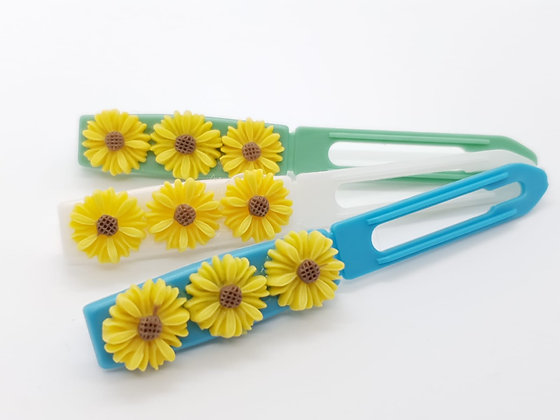 Yellow Daisies top Knot barrette clip for dogs
