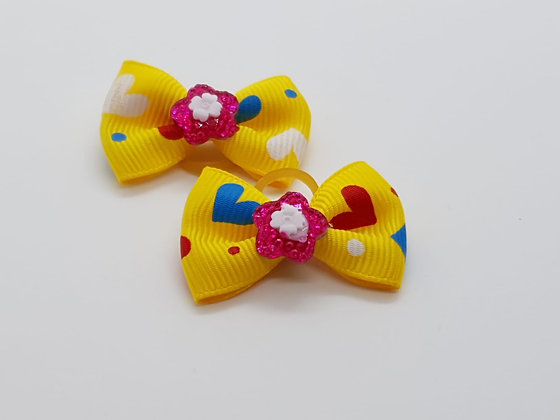 Yellow Heart Patterned Fabric Top Elastic Bow