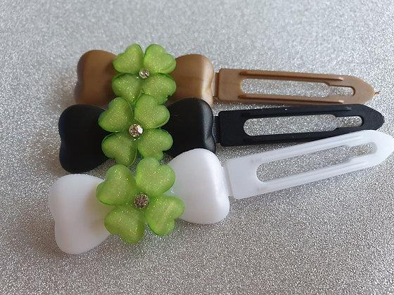St Patricks Green 4 Leaf Clover Top Knot Clip 4.5cm