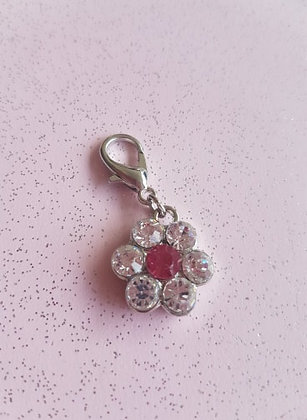 Diamante Flower Collar Charm Tag