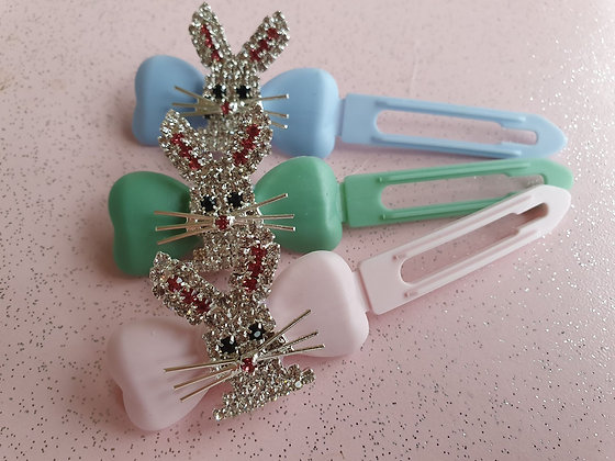 Diamante Easter Bunny Top knot barrette 4.5cm clips by Posh Puppy UK