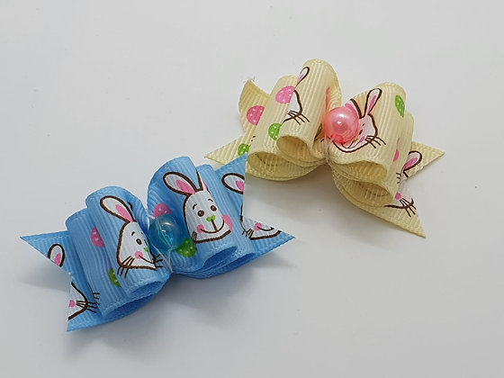 Easter Bunny Faced with Central Pearl Coloured Top Elastic Bow