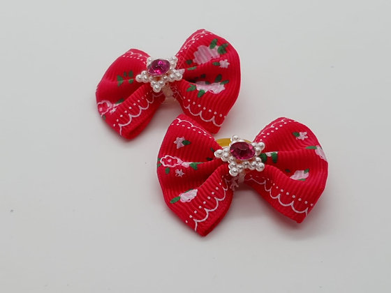 Hot Pink with Pink Roses on a Fabric Top Elastic Bow