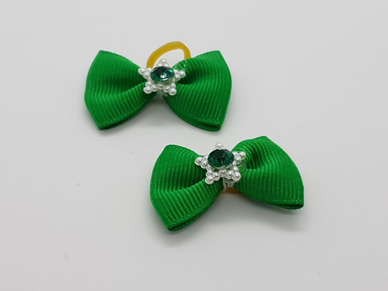 Green with a Star Gem Plain Fabric Top Elastic Bow