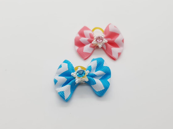 Ribbon Paterned Fabric Top Knot Elastic Bow