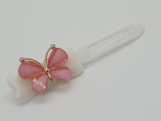 Spring Pink Butterfly on a Pearl White 4.5 Clip
