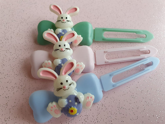 Easter Bunny Purple Egg Top knot barrette 4.5cm clips by Posh Puppy UK